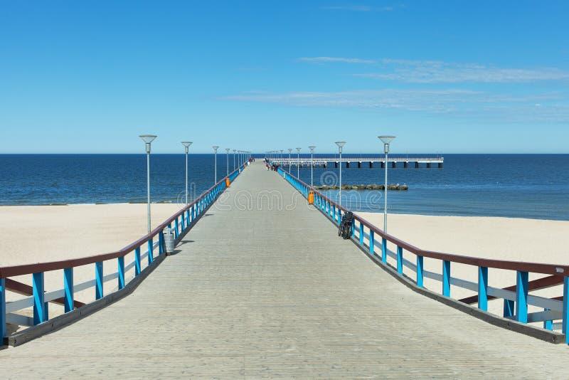 Overzeese brug in Palanga, Litouwen, Europa. royalty-vrije stock foto