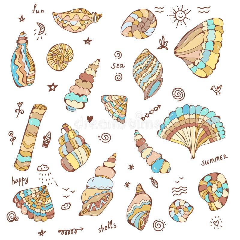 Overzeese die shells met grappige grafische ontwerpillustratie wordt geplaatst, stock illustratie