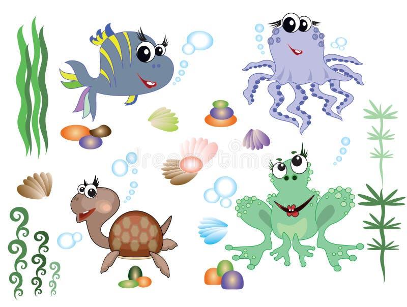 Overzeese dieren royalty-vrije illustratie