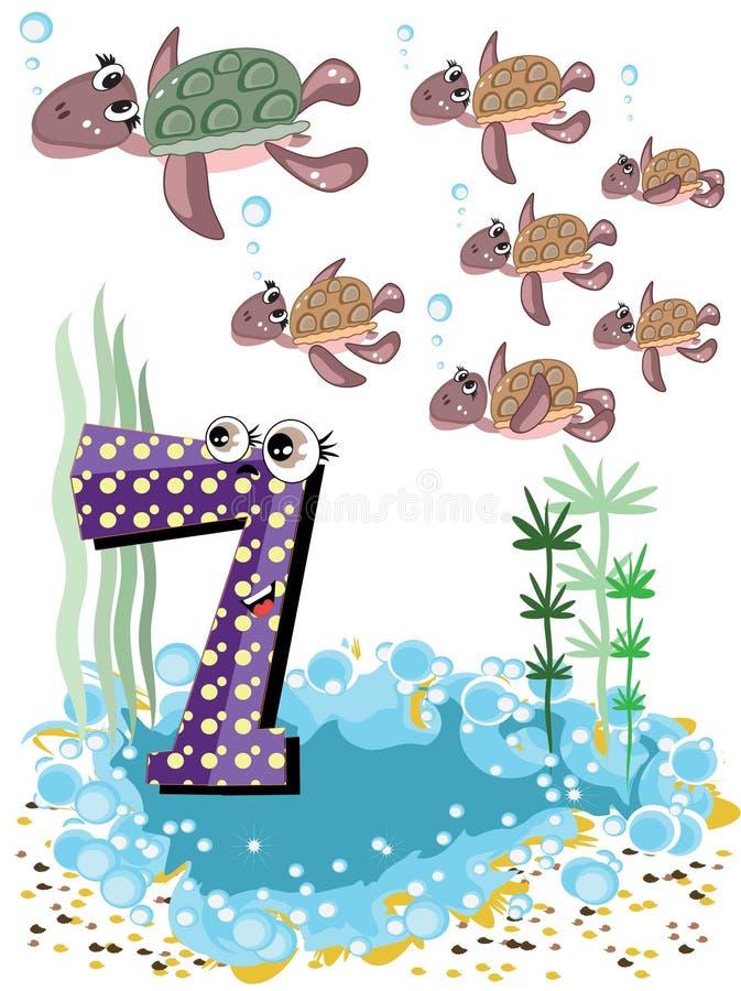 Overzeese dieren en nummer reeks-7, schildpadden vector illustratie