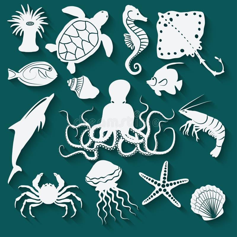 Overzeese dieren en vissenpictogrammen stock illustratie