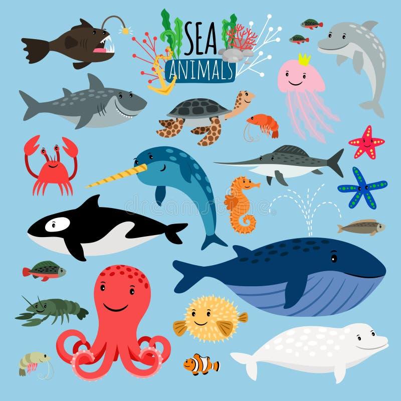 Overzeese dieren Vector onderwater dierlijke schepselen en vissen in overzees, zwaardvissen en langoustine, oceaanschildpad en ze vector illustratie