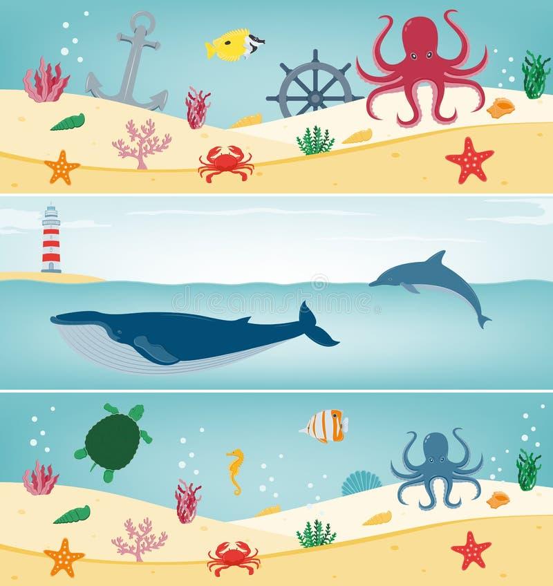 Overzeese geplaatste pictogrammen en symbolen Overzeese dieren Zeevaartontwerpelementen Het malplaatje van de conceptenwebsite Ve royalty-vrije illustratie