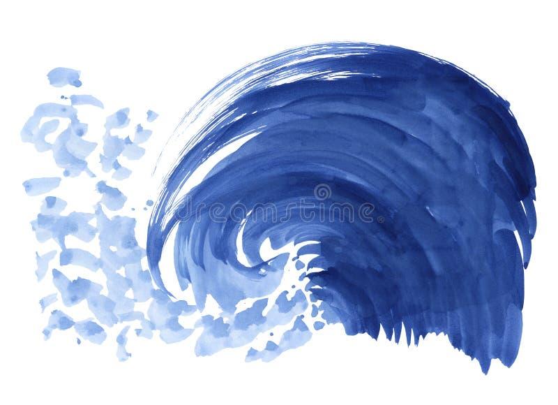 Overzeese golf Abstracte waterverfhand getrokken die illustratie, op witte achtergrond wordt geïsoleerd royalty-vrije illustratie
