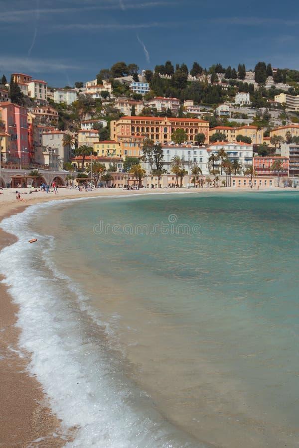 Overzeese golf en stad op heuvel Menton, Nice, Frankrijk royalty-vrije stock foto's