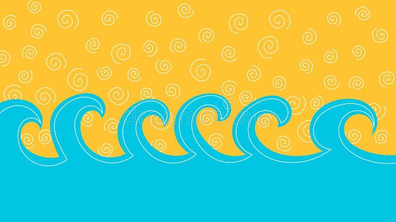 Overzeese golven en de kaart van de zandgroet royalty-vrije illustratie
