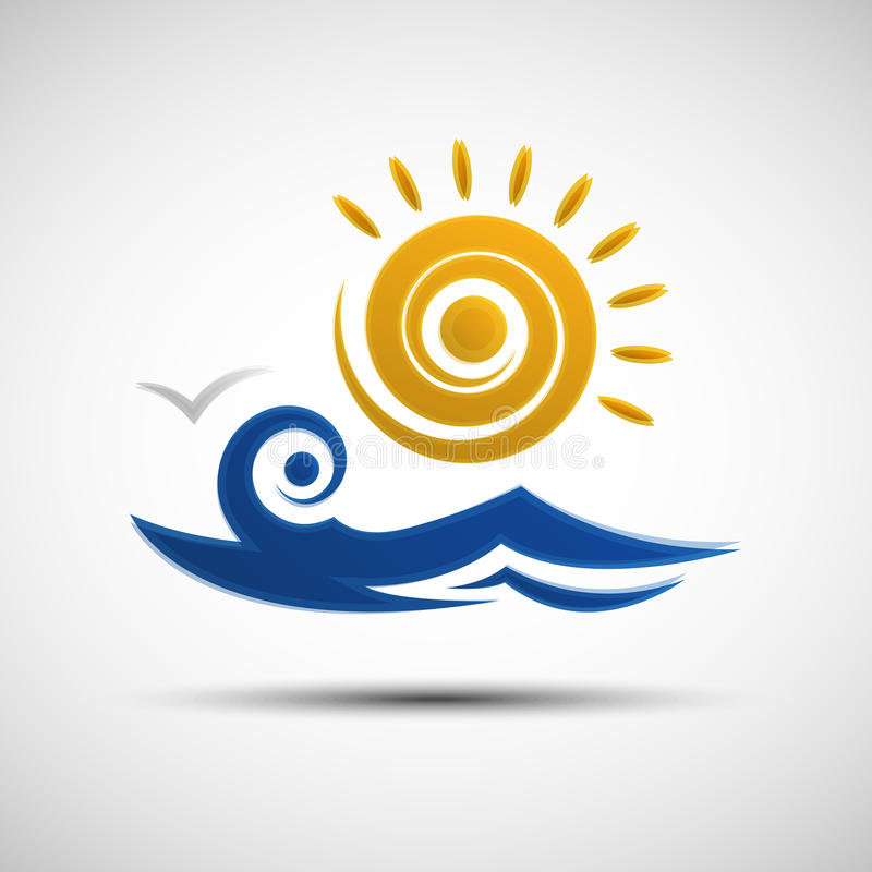 Overzeese golven en het ontwerpmalplaatje van het zonembleem vector illustratie