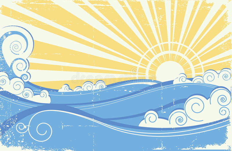 Overzeese golven. Grunge royalty-vrije illustratie