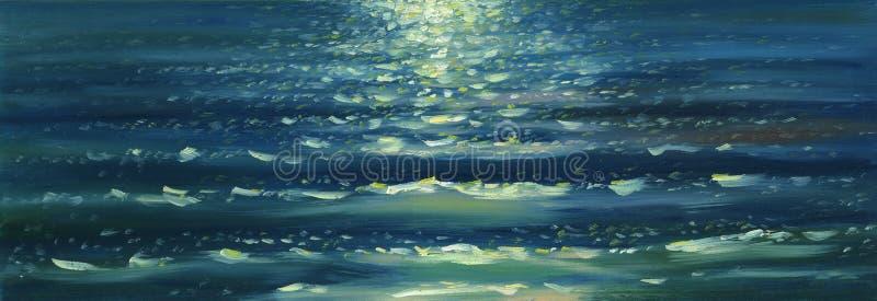 Overzeese golventextuur De achtergrond van het olieverfschilderij stock foto's