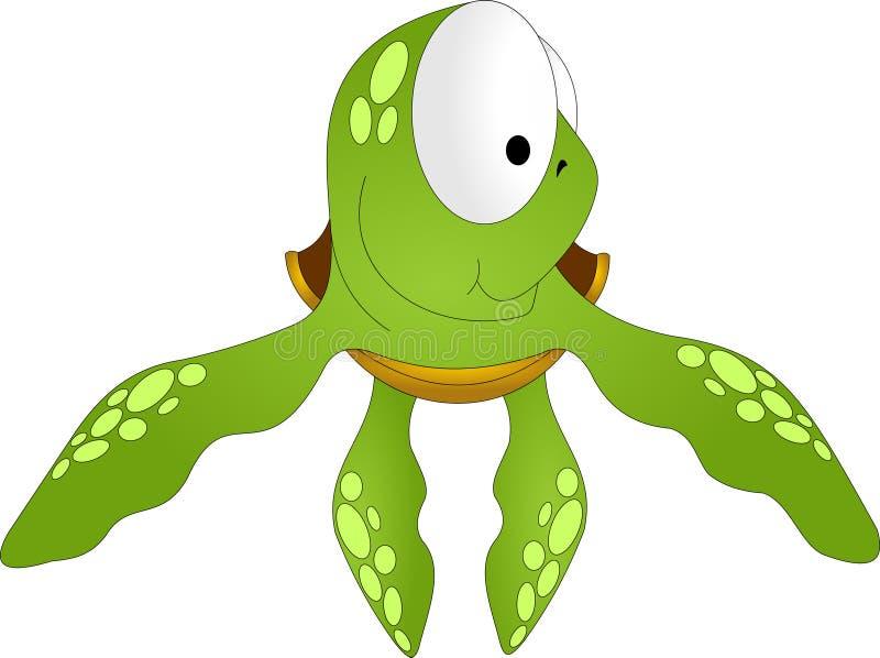 Overzeese groene schildpad met grote ogen vector illustratie