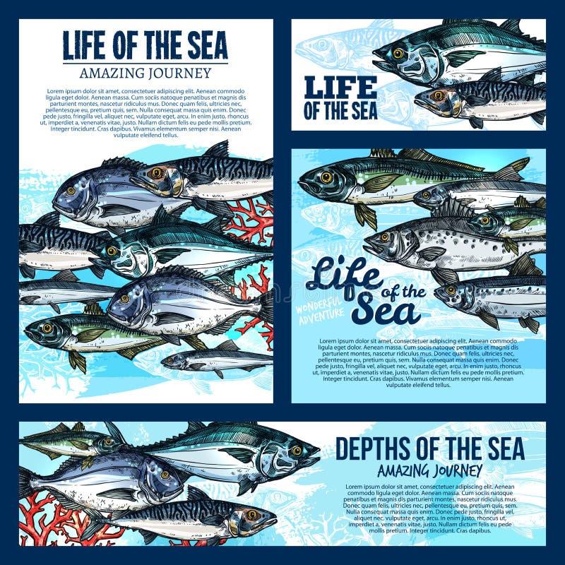 Overzeese het levensbanner met vissen en oceaan dierlijke schets vector illustratie