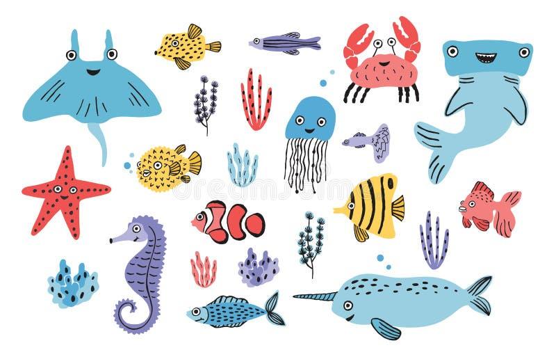 Overzeese het Levensreeks Hand getrokken algen, blowfish, kwallen, krab, hammerhead haai, walvis, zeester, haai, seahorse, mantas royalty-vrije illustratie