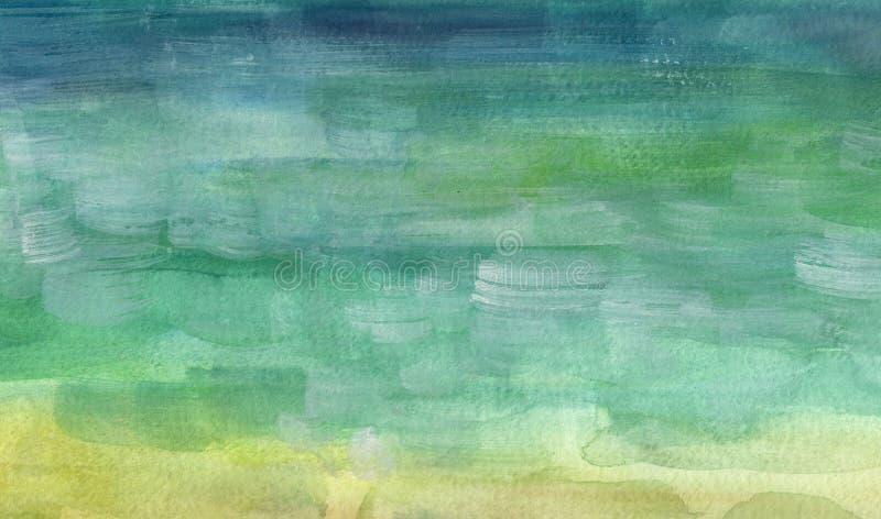 Overzeese kant, strand Mooie waterverfhand het schilderen illustratie royalty-vrije stock afbeeldingen