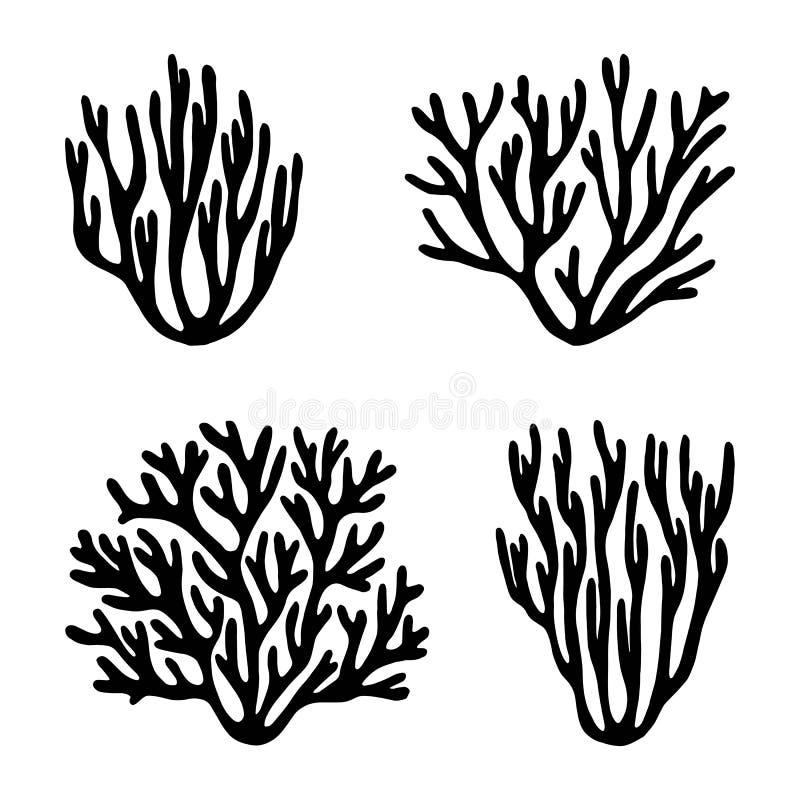 Overzeese koralen en geïsoleerde vector van het zeewier de zwarte silhouet stock illustratie