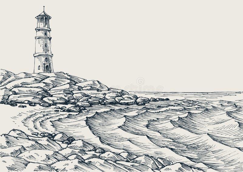 Overzeese kust en het overzeese golven trekken stock illustratie