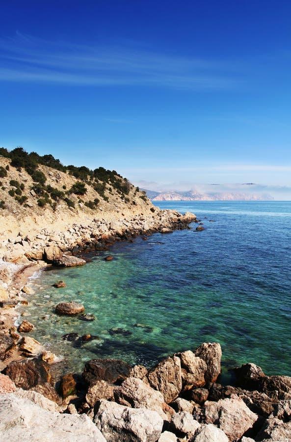 Overzeese kust Mening van hierboven royalty-vrije stock afbeelding