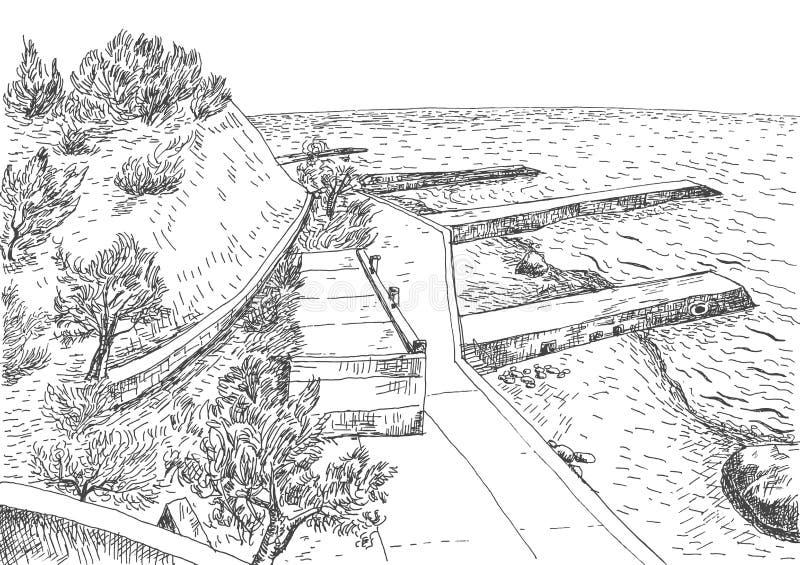 Overzeese kust met pijlers en rotsachtige kust in de Krim stock illustratie
