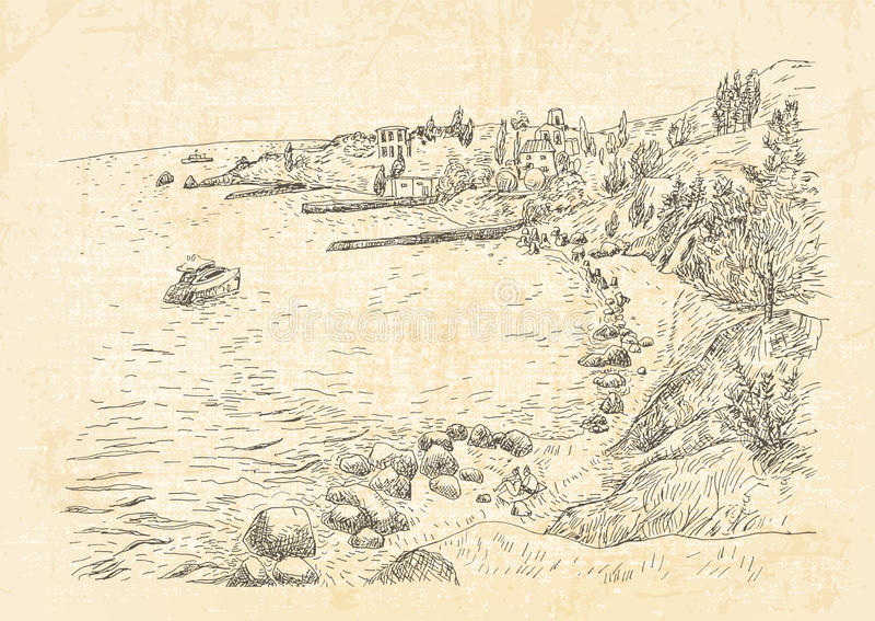 Overzeese kust met pijlers en rotsachtige kust in de Krim royalty-vrije illustratie