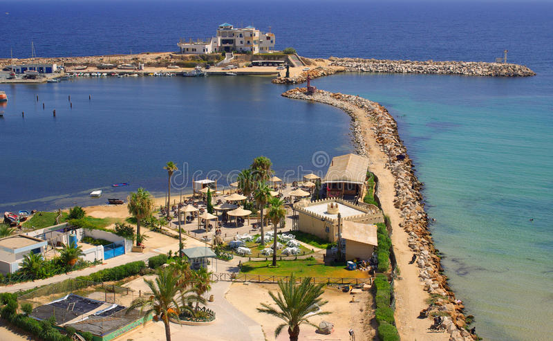 Overzeese kust in Monastir, Tunesië in Afrika royalty-vrije stock foto's