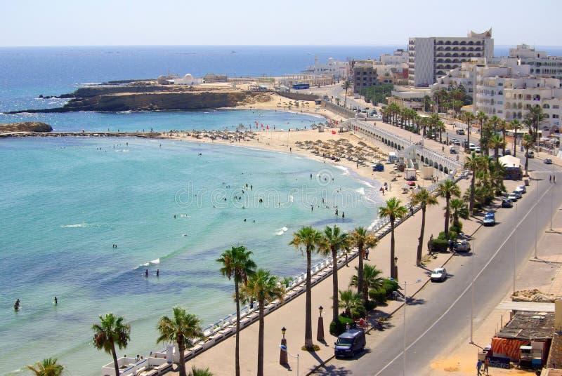 Overzeese kust in Monastir, Tunesië in Afrika royalty-vrije stock fotografie