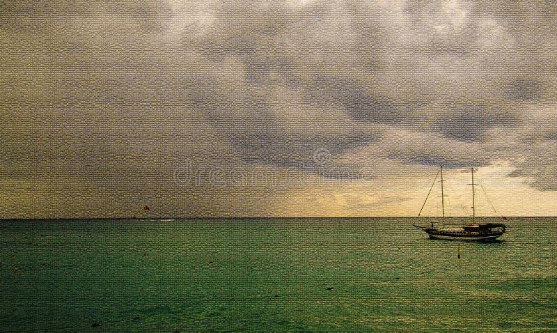Overzeese mening met een zeilboot stock illustratie