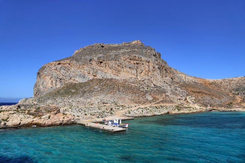 Overzeese mening over het Gramvousa-eiland met vesting, Kreta, Griekenland royalty-vrije stock fotografie