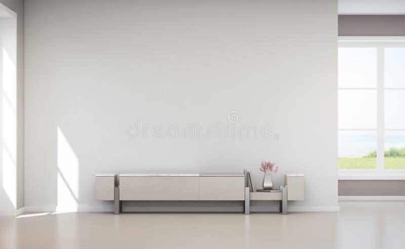 Overzeese meningswoonkamer van het strandhuis van de luxezomer met TV-tribune en houten kabinet stock foto's