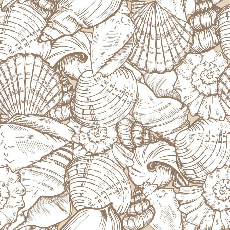 Overzeese naadloos shells vector illustratie