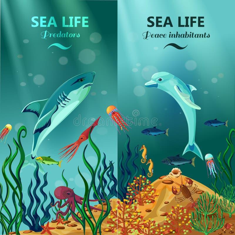 Overzeese Onderwater het Levens Verticale Banners vector illustratie