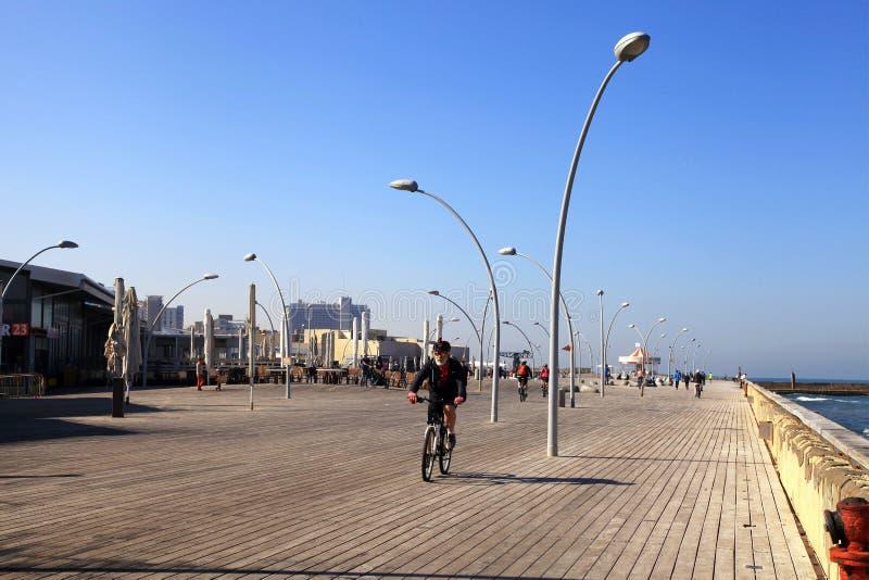 Overzeese promenade in Tel Aviv, Israël stock foto