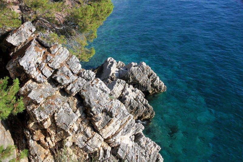 Overzeese rotsachtige kust stock afbeelding