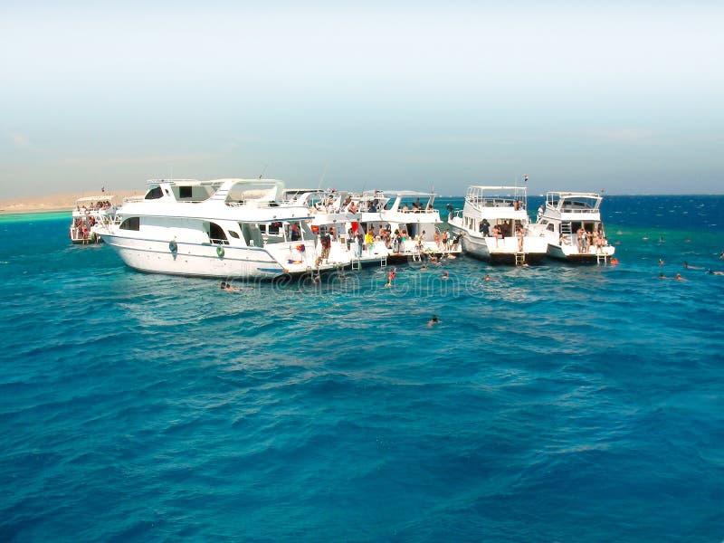 Overzeese rust op boten royalty-vrije stock afbeelding