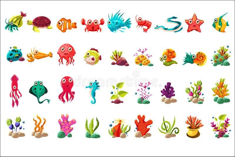 Overzeese schepsel grote reeks, kleurrijke beeldverhaal oceaandieren, planten en vissen vectorillustraties op een witte achtergro vector illustratie