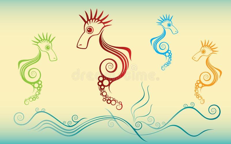 Overzeese schepselen die in het overzees zwemmen vector illustratie