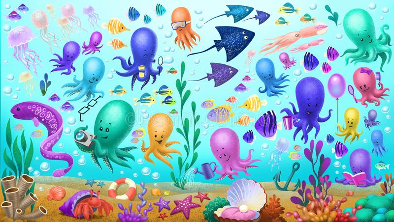 Overzeese schepselen, octopus, kwallen stock afbeelding