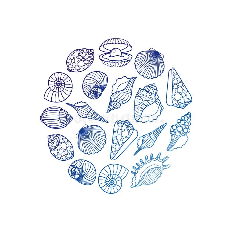 Overzeese shell om embleem royalty-vrije illustratie