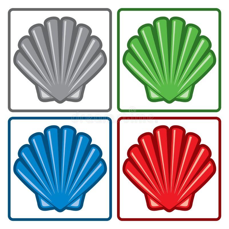 Overzeese Shell Pictogrammen Vector royalty-vrije illustratie