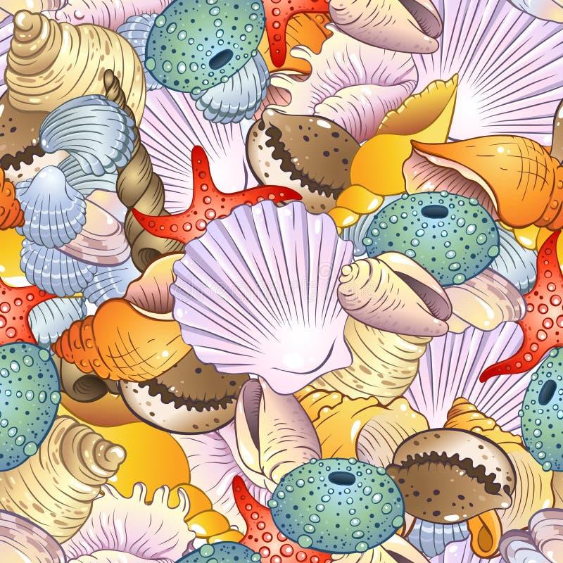 Overzeese shells achtergrond stock illustratie