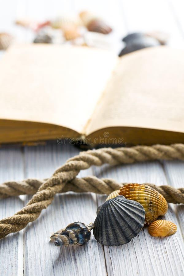 Overzeese shells en oud boek stock fotografie