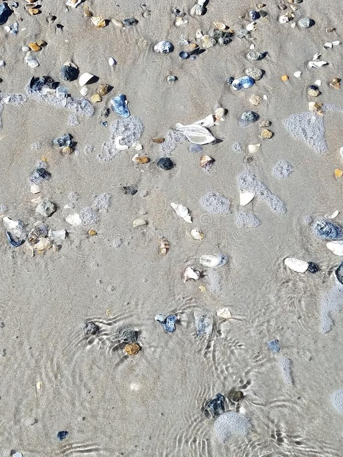 Overzeese shells en stenen op het strand door de Atlantische Oceaan royalty-vrije stock foto