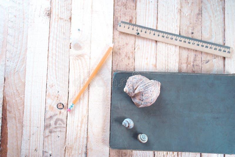 Overzeese shells op de lijst dichtbij het notitieboekje stock fotografie