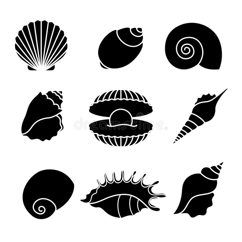 Overzeese shells silhouetten op wit vector illustratie