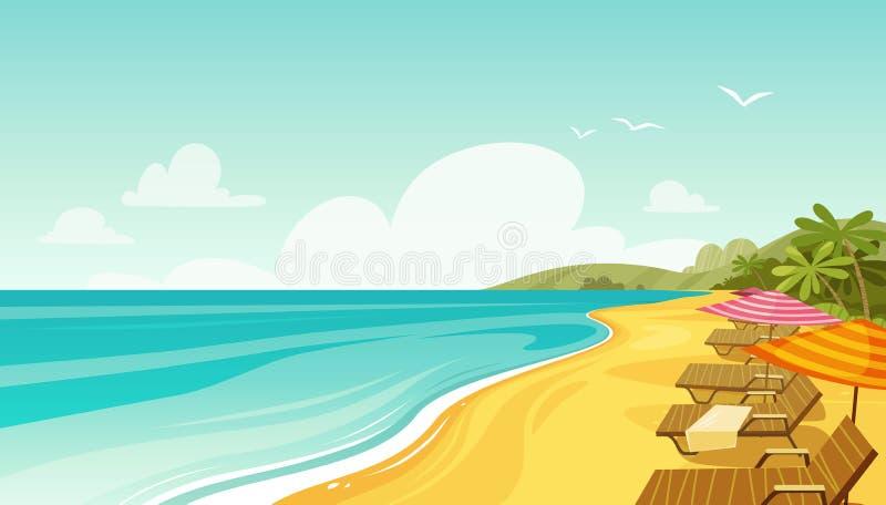 Overzeese strand en zonlanterfanters Zeegezicht, vakantiebanner De vectorillustratie van het beeldverhaal vector illustratie