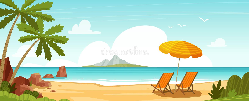 Overzeese strand en zonlanterfanters Zeegezicht, vakantiebanner De vectorillustratie van het beeldverhaal royalty-vrije illustratie