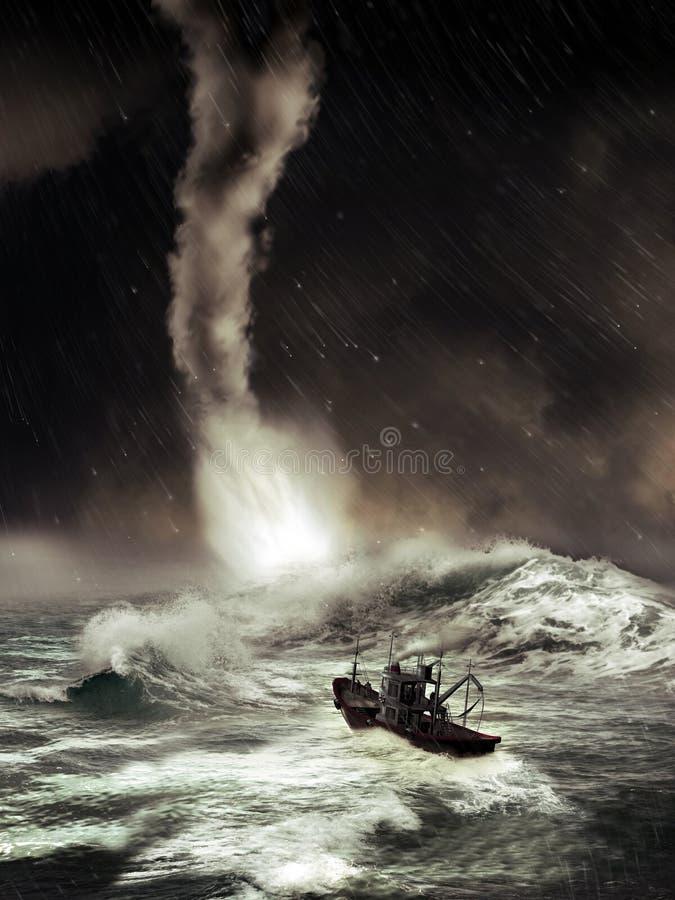 Overzeese tornado stock illustratie