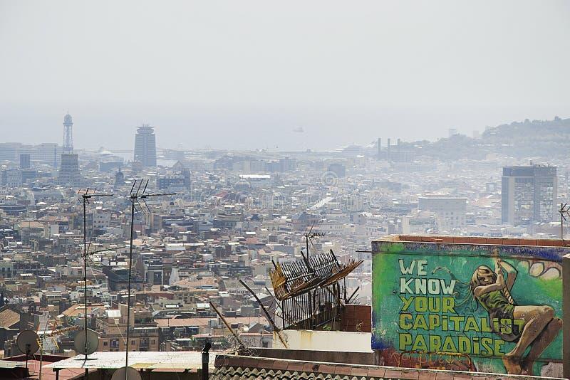 Overzeese van de de Graffitimening van Barcelona de Zomervakantie stock fotografie