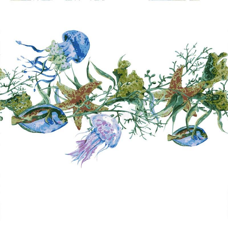 Overzeese van de de zomer Uitstekende Waterverf het Levens Naadloze Grens royalty-vrije illustratie