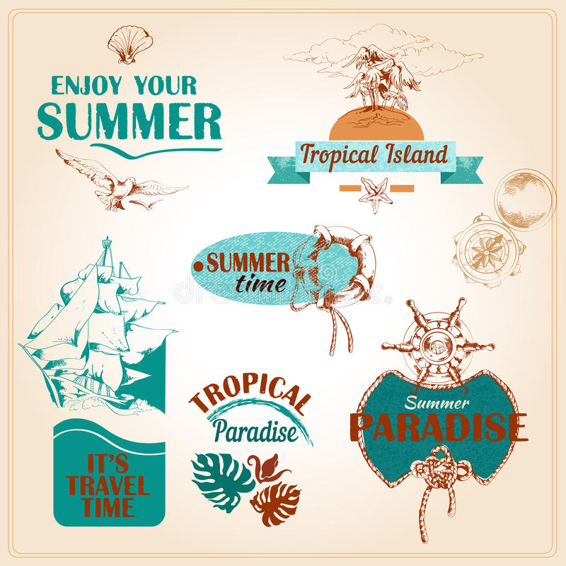 Overzeese van de de zomervakantie mariene emblemen geplaatst ? stock illustratie