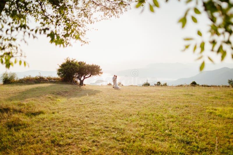 Overzeese van de het paarreis van het wittebroodswekenhuwelijk zij achtermening royalty-vrije stock foto's