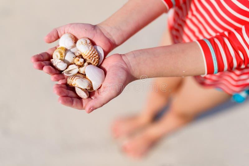 Overzeese van de meisjesholding shells stock fotografie